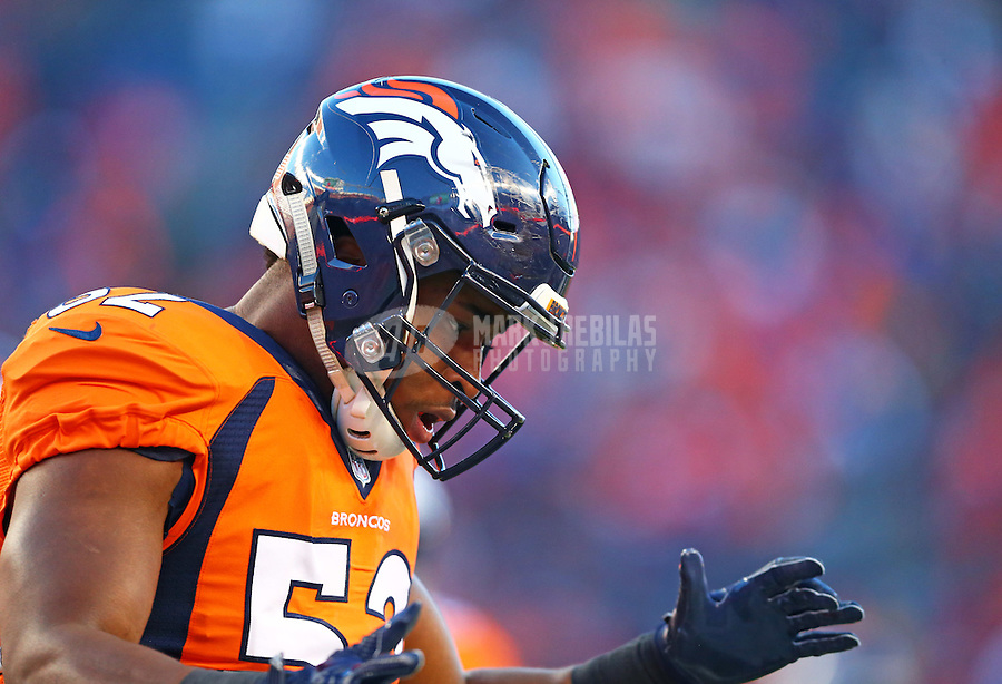 Jan 17, 2016; Denver, CO, USA; Denver Broncos linebacker Corey Nelson (52) against the Pittsburgh Steelers during the AFC Divisional round playoff game at Sports Authority Field at Mile High. Mandatory Credit: Mark J. Rebilas-USA TODAY Sports