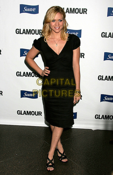 BRITTANY SNOW.2008 Glamour Reel Moments held at the Directors Guild of America, Los Angeles, California, USA..October 14th, 2008.full length dress hand on hip black .CAP/ADM/MJ.©Michael Jade/AdMedia/Capital Pictures.