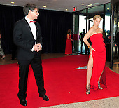 Alexandra Wentworth, right, clowns for the cameras as she and her husband, George Stephanopoulos, left, arrive for the 2013 White House Correspondents Association Annual Dinner at the Washington Hilton Hotel on Saturday, April 27, 2013..Credit: Ron Sachs / CNP.(RESTRICTION: NO New York or New Jersey Newspapers or newspapers within a 75 mile radius of New York City)