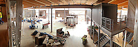 STAFF PHOTO BEN GOFF  @NWABenGoff -- 12/12/14 A panoramic view of the main gallery space inside the Amazeum as seen from one of the Learning Lofts in the children's museum under construction in Bentonville on Friday Dec. 12, 2014. NOTE: This photo is a stitched panorama composed of multiple frames.