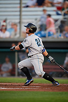 Hudson Valley Renegades designated hitter Erik Ostberg (21) hits a game tying sacrifice fly during a game against the Auburn Doubledays on September 5, 2018 at Falcon Park in Auburn, New York.  Hudson Valley defeated Auburn 11-5.  (Mike Janes/Four Seam Images)