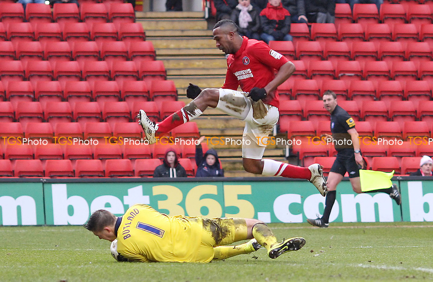 Jack Butland of Birmingham foils Ricardo Fuller of Charlton - Charlton Athletic vs Birmingham City, nPower Championship at The Valley, Charlton - 09/02/13 - MANDATORY CREDIT: Rob Newell/TGSPHOTO - Self billing applies where appropriate - 0845 094 6026 - contact@tgsphoto.co.uk - NO UNPAID USE.