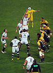 Stephan Lewies takes lineout ball during the Super Rugby quarterfinal match between the Hurricanes and Sharks at Westpac Stadium, Wellington, New Zealand on Saturday, 23 July 2016. Photo: Dave Lintott / lintottphoto.co.nz