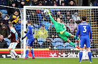 Burnley's Thomas Heaton is beaten by Leicester City's James Maddison's free-kick<br /> <br /> Photographer Rich Linley/CameraSport<br /> <br /> The Premier League - Burnley v Leicester City - Saturday 16th March 2019 - Turf Moor - Burnley<br /> <br /> World Copyright © 2019 CameraSport. All rights reserved. 43 Linden Ave. Countesthorpe. Leicester. England. LE8 5PG - Tel: +44 (0) 116 277 4147 - admin@camerasport.com - www.camerasport.com