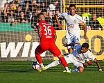 10.08.2019, Donaustadion, Ulm, GER, DFB Pokal, SSV Ulm 1846 Fussball vs 1. FC Heidenheim, <br /> DFL REGULATIONS PROHIBIT ANY USE OF PHOTOGRAPHS AS IMAGE SEQUENCES AND/OR QUASI-VIDEO, <br /> im Bild Niklas Dorsch (Heidenheim, #36) setzt sich gegen Burak Coban (Ulm, #9) durch<br /> <br /> Foto © nordphoto / Hafner