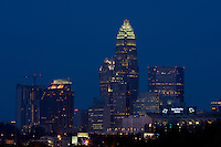 Charlotte, NC, makes a striking skyline at dusk.