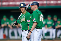 Notre Dame Fighting Irish coach Joe Hastings #16 and catcher Joe Hudson #4 during a game against the Purdue Boilermakers at the Big Ten/Big East Challenge at Al Lang Stadium on February 19, 2012 in St. Petersburg, Florida.  (Mike Janes/Four Seam Images)