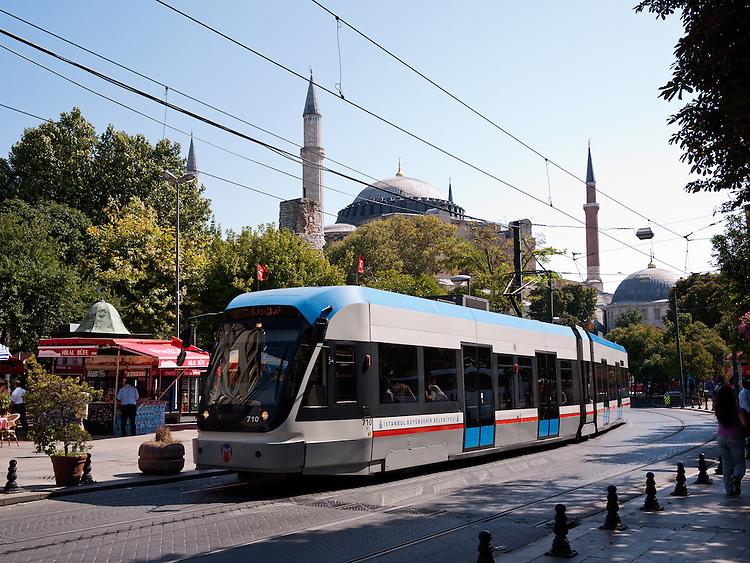 Istanbul Tram 01 - Tram on Divan Yolu Caddesi, Sultanahmet, Istanbul, Turkey