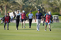 Haotong Li (CHN) Erik Van Rooyen (RSA) Pablo Larrazabal (ESP) on the 14th during the 1st round of the Abu Dhabi HSBC Championship, Abu Dhabi Golf Club, Abu Dhabi,  United Arab Emirates. 16/01/2020<br /> Picture: Fran Caffrey | Golffile<br /> <br /> <br /> All photo usage must carry mandatory copyright credit (© Golffile | Fran Caffrey)