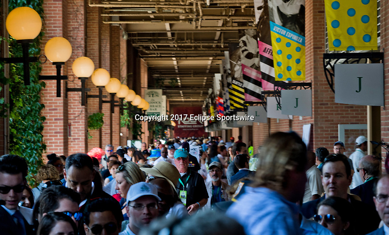 ELMONT, NY - JUNE 10: The hordes of spectators at Belmont Park on Belmont Stakes Day at Belmont Park on June 10, 2017 in Elmont, New York (Photo by Scott Serio/Eclipse Sportswire/Getty Images)