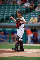 Indianapolis Indians catcher Steven Baron (44) during an International League game against the Syracuse Mets on July 17, 2019 at Victory Field in Indianapolis, Indiana.  Syracuse defeated Indianapolis 15-5  (Mike Janes/Four Seam Images)