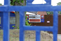 The gates are padlocked shut at National League football club Braintree Town FC as football matches are suspended during the COVID-19 pandemic and lockdown