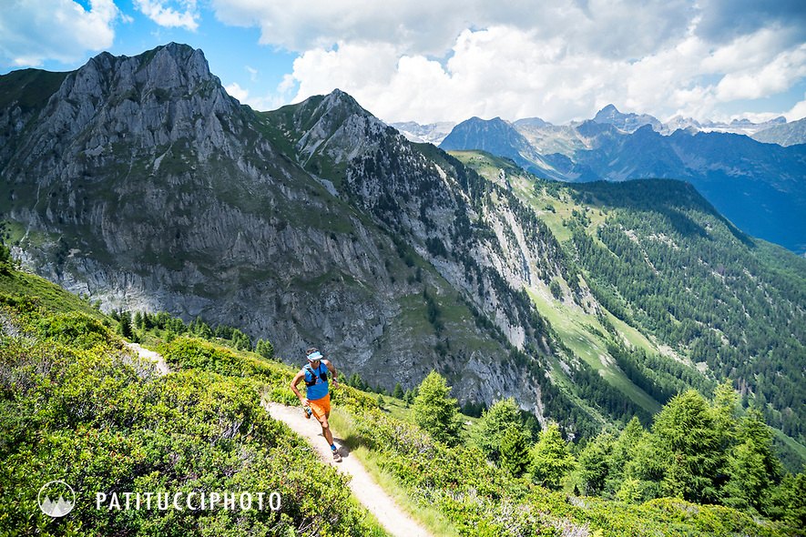Trail running near the Col de Balme on the Swiss and French borders, between Trient, Switzerland and Chamonix, France.