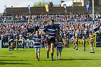 Matt Banahan, with his kids, leads the Bath Rugby team out onto the field on the occasion of his final match for the club. Aviva Premiership match, between Bath Rugby and London Irish on May 5, 2018 at the Recreation Ground in Bath, England. Photo by: Patrick Khachfe / Onside Images