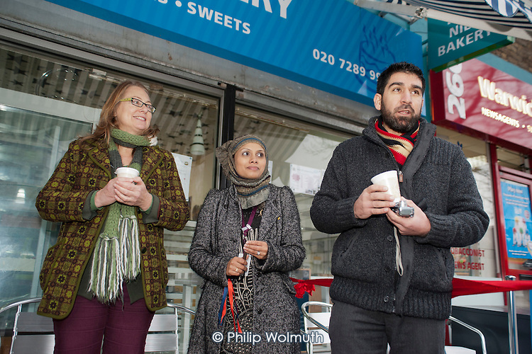 Helen Kay, Sheba Begum and Little Venice Fish Bar owner Yaquub Aiobi.  Westbourne Parade after shopfront, pavement and street furniture improvement scheme.