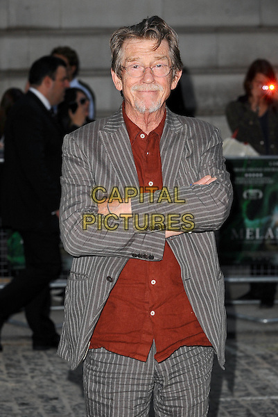 John Hurt<br /> UK Premiere of 'Melancholia' at the Curzon, Mayfair, London, England.<br /> September 28th 2011<br /> half length grey gray pinstripe suit jacket red shirt glasses goatee facial hair arms crossed <br /> CAP/BEL<br /> &copy;Tom Belcher/Capital Pictures