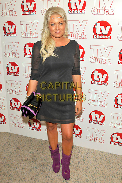 RITA SIMMONS .attending the TV Quick & TV Choice Awards held at The Dorchester hotel,  in London, England, September 7th 2009..arrivals full length purple ankle boots grey gray dress black clutch bag .CAP/PL.©Phil Loftus/Capital Pictures