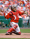 5 August 2007: Washington Nationals catcher Jesus Flores in action against the St. Louis Cardinals at RFK Stadium in Washington, DC. The Nationals defeated the Cardinals 6-3 to sweep their 3-game series...Mandatory Photo Credit: Ed Wolfstein Photo