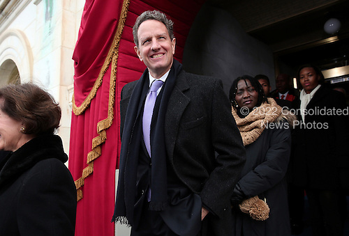 Outgoing United States Secretary of the Treasury Timothy Geithner arrives during the presidential inauguration for U.S. President Barack Obama on the West Front of the U.S. Capitol January 21, 2013 in Washington, DC.   Barack Obama was re-elected for a second term as President of the United States.      .Credit: Win McNamee / Pool via CNP