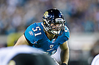 October 24, 2011:  Jacksonville Jaguars middle linebacker Paul Posluszny (51) gets ready for a play during action between the Jacksonville Jaguars and the Baltimore Ravens played at EverBank Field in Jacksonville, Florida.  ........