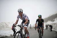 White Jersey leader Bob Jungels (Lux/Etixx-Quickstep) up the snow-covered Colle dell'Agnello (2744m)<br /> <br /> stage 19: Pinerolo(IT) - Risoul(FR) 162km<br /> 99th Giro d'Italia 2016