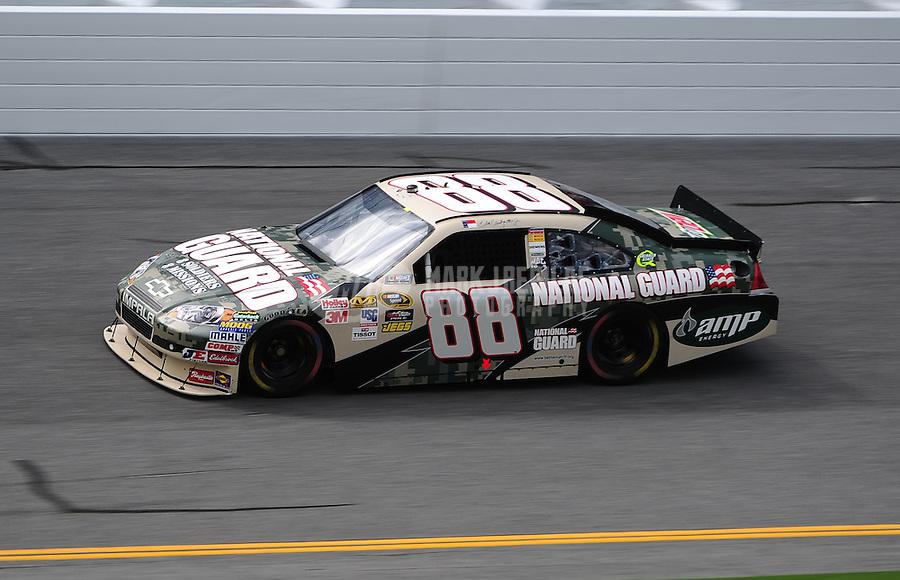 Jul. 1, 2010; Daytona Beach, FL, USA; NASCAR Sprint Cup Series driver Dale Earnhardt Jr during practice for the Coke Zero 400 at Daytona International Speedway. Mandatory Credit: Mark J. Rebilas-