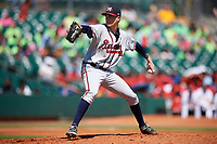 Mississippi Braves starting pitcher Max Fried (32) delivers a pitch during a game against the Montgomery Biscuits on April 25, 2017 at Montgomery Riverwalk Stadium in Montgomery, Alabama.  Mississippi defeated Montgomery 3-2.  (Mike Janes/Four Seam Images)