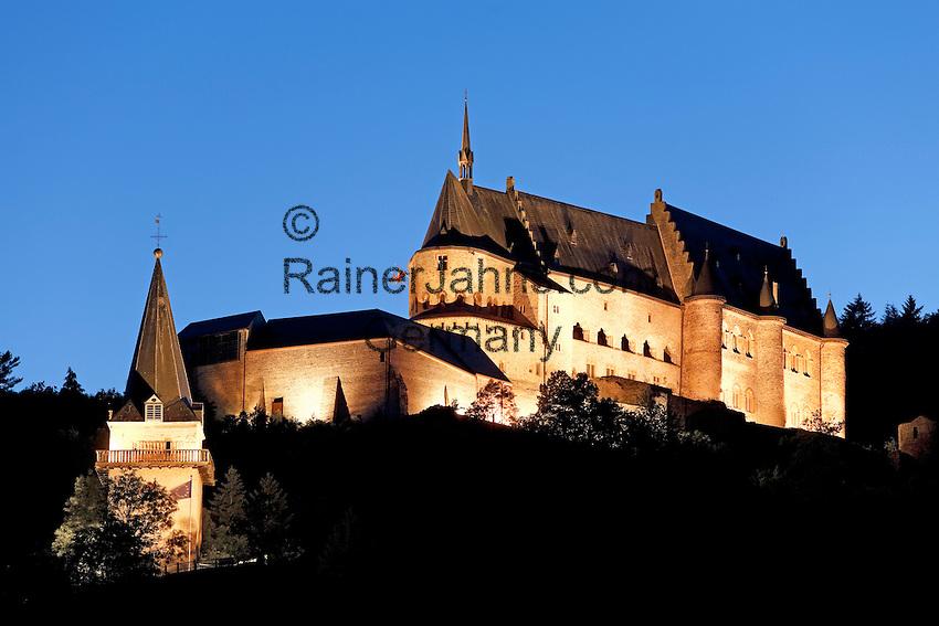 Grand Duchy of Luxembourg, Vianden: Vianden castle at night