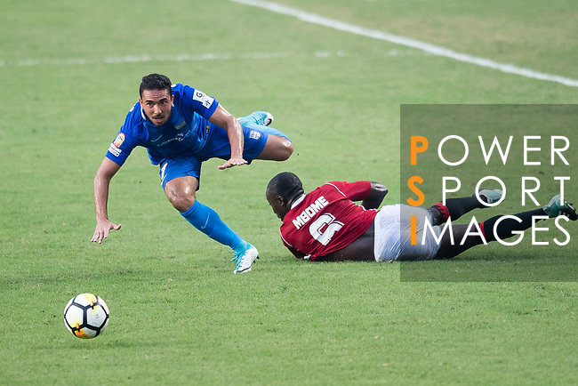 Eugene Mbende Mbome of Pegasus (R) trips up with SC Kitchee Midfielder Fernando Augusto (L) during the week three Premier League match between Hong Kong Pegasus and Kitchee at Hong Kong Stadium on September 17, 2017 in Hong Kong, China. Photo by Marcio Rodrigo Machado / Power Sport Images