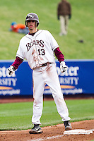 Kevin Medrano (13) of the Missouri State Bears waits on third base during a game against the Oral Roberts Golden Eagles on March 27, 2011 at Hammons Field in Springfield, Missouri.  Photo By David Welker/Four Seam Images