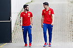 Spain's Isco Alarcon (l) and Alvaro Morata after training session. March 21,2017.(ALTERPHOTOS/Acero)
