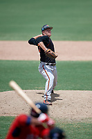 GCL Orioles relief pitcher Jason Montville (39) delivers a pitch during a game against the GCL Red Sox on August 9, 2018 at JetBlue Park in Fort Myers, Florida.  GCL Red Sox defeated GCL Orioles 10-4.  (Mike Janes/Four Seam Images)