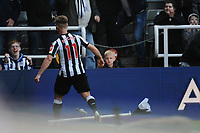 Matt Ritchie of Newcastle United kicks the corner flag after scoring Newcastle United's second goal during Newcastle United vs Arsenal, Premier League Football at St. James' Park on 15th April 2018