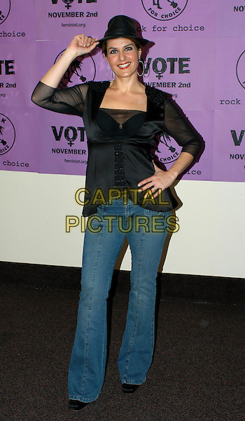 NIA VARDALOS.Rock for Choice Benefit Concert held at The Hollywood Palladium in Hollywood, California .23 January 2004       .*UK Sales Only*                                           .full length, full-length, fedora hat, denim jeans black shirt blouse                                      .www.capitalpictures.com.sales@capitalpictures.com.©Capital Pictures.