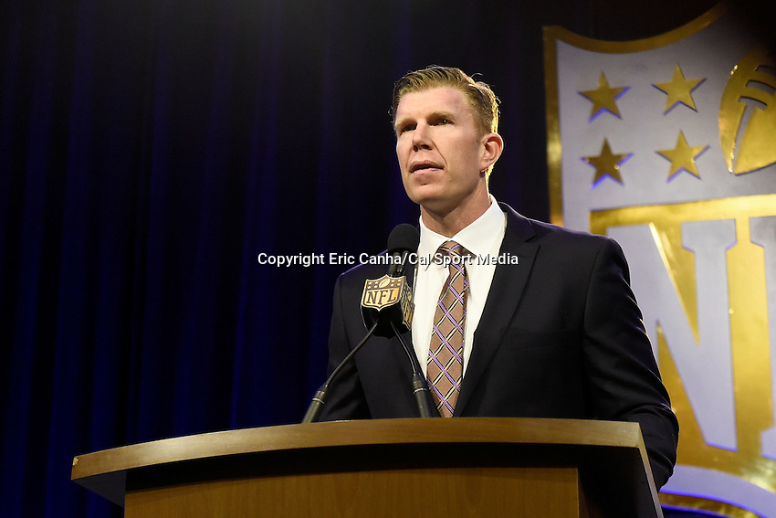 Friday, February 5, 2016: Matt Birk, NFL director of football development holds a press conference to present the Don Shula NFL High School Coach of the Year Award at the Moscone Center in San Francisco, California during the National Football League week long opening celebrations for Super Bowl 50 between the Carolina Panthers and the Denver Broncos. Eric Canha/CSM