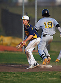 Boca Ciega Pirates first baseman Jake Dolcater (16) waits for a throw as Bo Bichette (19) runs through the bag during a game against the Lakeland Spartans at Boca Ciega High School on March 2, 2016 in St. Petersburg, Florida.  (Copyright Mike Janes Photography)