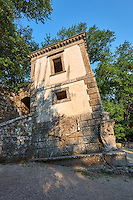Casa Pendente, a leaning house  commissioned by Piaer Francesco Orsini c. 1513-84, in The Renaissance Mannerist statues of the Park of Monsters or The Sacred Wood of Bamarzo, Italy