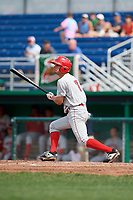 Auburn Doubledays third baseman Cole Daily (7) flies out during a game against the Batavia Muckdogs on September 1, 2018 at Dwyer Stadium in Batavia, New York.  Auburn defeated Batavia 10-5.  (Mike Janes/Four Seam Images)