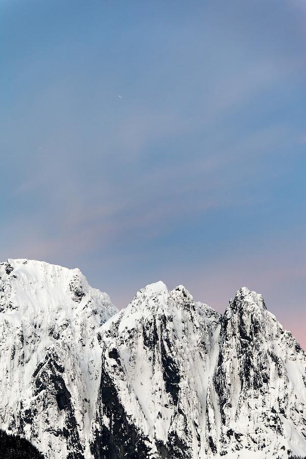 Dawn sky over Mount Index, Central Washington Cascade Mountains, Snohomish County, Washington, USA