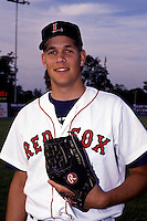 Lynchburg Red Sox pitcher Aaron Sele prior to a game versus the Salem Buccaneers at Lynchburg City Stadium in Lynchburg, Virginia during the summer of 1992.  (Ken Babbitt/Four Seam Images)
