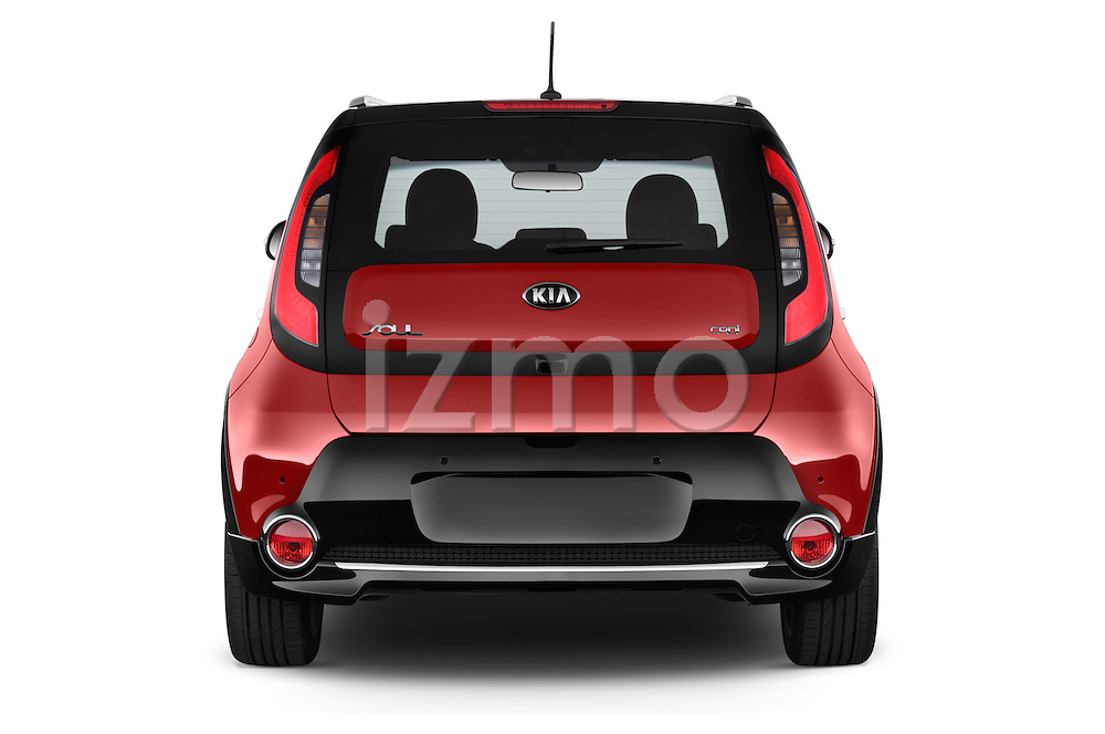 Straight rear view of 2015 KIA Soul Max 5 Door Hatchback stock images