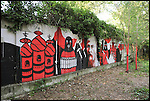 Murales nel giardino di Bunker, il nuovo progetto di Urbe nell'ex stabilimento SICMA Torino. Agosto 2012