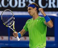 RAFAEL NADAL (ESP) against NOVAK DJOKOVIC (SRB) in the FINAL of the Men's Singles. Novak Djokovic Beat Rafael Nadal 5-7 6-4 6-2 6-7 7-5...29/01/2012, 29th January 2012, 29.01.2012 - Day 14..The Australian Open, Melbourne Park, Melbourne,Victoria, Australia.@AMN IMAGES, Frey, Advantage Media Network, 30, Cleveland Street, London, W1T 4JD .Tel - +44 208 947 0100..email - mfrey@advantagemedianet.com..www.amnimages.photoshelter.com.