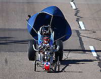 Feb 26, 2016; Chandler, AZ, USA; NHRA top dragster driver Dean Carter during qualifying for the Carquest Nationals at Wild Horse Pass Motorsports Park. Mandatory Credit: Mark J. Rebilas-