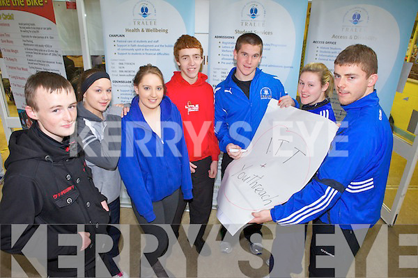 ITT students are helping youth from KDYS learn and experience their courses. Pictrued from l-r were: Denis McAuliffe, Kayleigh Scannell, Lisa Healy, Fabien White, Dan Cahillane, Shauna Hilley and Padraig O'Connor.