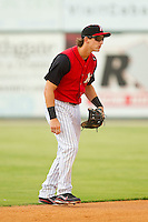 Kannapolis Intimidators shortstop Chris Curley (11) on defense against the Rome Braves at CMC-Northeast Stadium on August 5, 2012 in Kannapolis, North Carolina.  The Intimidators defeated the Braves 9-1.  (Brian Westerholt/Four Seam Images)