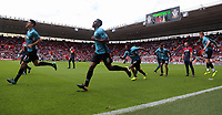 Swansea players warm up prior to the Premier League match between Southampton and Swansea City at the St Mary's Stadium, Southampton, England, UK. Saturday 12 August 2017