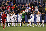 20 March 2008: United States players applaud the crowd after the game as Andrea Lombardo (CAN) (9) walks off the field. The United States U-23 Men's National Team defeated the Canada U-23 Men's National Team 3-0 at LP Field in Nashville,TN in a semifinal game during the 2008 CONCACAF Men's Olympic Qualifying Tournament. With the victory, the United States qualified for the 2008 Beijing Olympics.