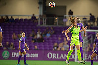 Orlando, FL - Thursday September 07, 2017: Rumi Utsugi, Alanna Kennedy during a regular season National Women's Soccer League (NWSL) match between the Orlando Pride and the Seattle Reign FC at Orlando City Stadium.