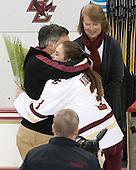 Brian Kickham, Erin Kickham (BC - 3), Ellen Kickham -  The Boston College Eagles defeated the visiting Boston University Terriers 5-0 on BC's senior night on Thursday, February 19, 2015, at Kelley Rink in Conte Forum in Chestnut Hill, Massachusetts.